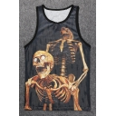3D Skull Pattern Round Neck Sleeveless Breathable Sports Tank Tee