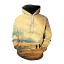 New Arrival Fashion Digital Landscape Pattern Long Sleeve Hoodie