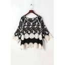 Color Block Embroidery Floral Pattern Lace Patchwork V-Neck 3/4 Length Sleeve Blouse