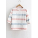 Summer's Fresh Striped Pattern Round Neck Half Sleeve Casual T-Shirt