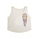 Dreamcatcher Printed Scoop Neck Sleeveless High Low Hem Cropped Tank