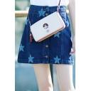 Fashion Pentacle Printed Single Breasted Mini Denim A-Line Skirt