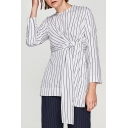 New Arrival Fashion Knotted Waist Striped Pattern Round Neck Long Sleeve Blouse