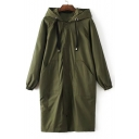 Winter's Warm Hooded Long Sleeve Simple Plain Zip Up Cotton Coat with Double Pockets