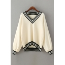 Fashion Striped Printed Trim V Neck Long Sleeve Dipped Hem Sweater