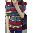 New Arrival Off the Shoulder Half Sleeve Striped Color Block Pullover Sweater