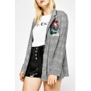 Women's Sequined Floral Embroidery Letter Notched Lapel Plaid Blazer