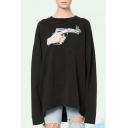 Fashion Gun Bullet Pattern Oversize Loose Round Neck Long Sleeve Sweatshirt