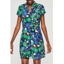 Color Block Floral Printed Lapel Short Sleeve Button Down Mini Shirt Dress
