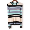 Color Block Striped Long Sleeve Round Neck Pullover Sweater