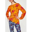 Fashion Sashes Round Neck Long Sleeve Floral Pattern Pullover Blouse