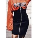 New Trendy Sexy Zip Up High Waist Plain Mini Bodycon Skirt