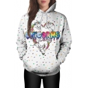 Fashion Cartoon Unicorn Pattern Long Sleeve Casual Hoodie with Pockets
