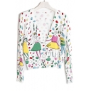 New Trendy Fashion Cartoon Girls Printed Long Sleeve Buttons Down Cardigan