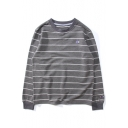 Chic Classic Striped Pattern Long Sleeve Round Neck Pullover Sweatshirt