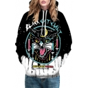 New Arrival Digital Black Cat Pattern Casual Loose Unisex Hoodie
