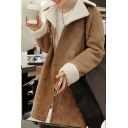 Winter's Warm Notched Lapel Collar Long Sleeve Double Breasted Suede Coat