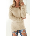 New Stylish Winter's Simple Plain Round Neck Long Sleeve Dipped Hem Sweater
