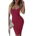 Hot Fashion Spaghetti Straps Simple Plain Bodycon Midi Slip Dress