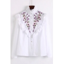 Fashion Floral Embroidered Ruffle Hem Stand-Up Collar Long Sleeve Buttons Down Shirt
