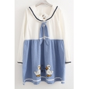 Cute Cartoon Duck Embroidery Color Block Long Sleeve Mini Dress