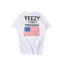 Fashion American Flag Letter Pattern Round Neck Loose Leisure Unisex T-Shirt