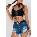 New Sexy Spaghetti Straps Grommet Lace-Up Cropped Plain Cami Top