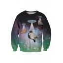 Beautiful Cat Galaxy 3D Printed Long Sleeve Round Neck Pullover Sweatshirt