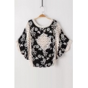 New Arrival Hollow Out Floral Pattern Batwing 3/4 Length Sleeve Blouse