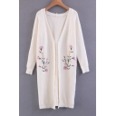 Fashion Symmetric Floral Embroidered Long Sleeve Tunic Cardigan
