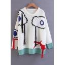 Women's Color Block Pattern Tassel Long Sleeve Round Neck Pullover Sweater
