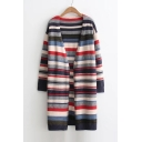 Warm Fashion Striped Printed Long Sleeve Open Front Longline Cardigan