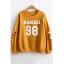 New Trendy Ripped Out Long Sleeve Round Neck Letter Printed Sweatshirt