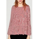 Women's Striped Ruffle Front Button Down Back Long Sleeve Blouse