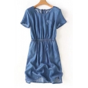 Women's Elastic Waist Round Neck Short Sleeve Zip Back Plain Mini Denim Dress