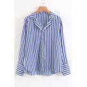 Fashion Notched Lapel Collar Long Sleeve Striped Pattern Buttons Down Shirt