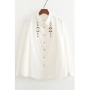 Women's Lapel Embroidery Floral Pattern Long Sleeve Single Breasted Shirt