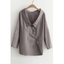 New Stylish Lapel Oblique Single Breasted Long Sleeve Plain Shirt