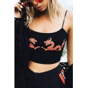 Hot Popular Dragon Pattern Spaghetti Straps Cropped Slim Cami Top