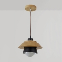 Industrial Simple Wood Pendant Light Indoor Light Fixture for Study