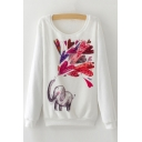 New Trendy Elephant Sketch Pattern Long Sleeve Round Neck Pullover Sweatshirt