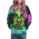 Digital Crying Alien Printed Long Sleeve Casual Leisure Unisex Hoodie