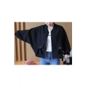 Basic Simple Plain Long Sleeve Casual Loose Zip Up Baseball Jacket