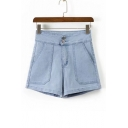New Trendy High Waist Double Buttons Fly Plain Loose Denim Shorts