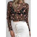 Chic Floral Embroidered Sheer Mesh Round Neck Long Sleeve Cropped Top