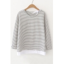 Contrast Hem Long Sleeve Round Neck Striped Casual T-Shirt
