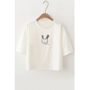 Summer Cute Rabbit Printed Round Neck Half Sleeve Tee