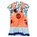 New Stylish Digital Fake Two-Piece Short Sleeve Midi T-Shirt Dress