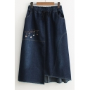 Embroidery Pattern Drawstring Elastic Waist Asymmetric Hem Denim Skirt