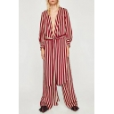 Classic Striped Pattern Plunge Neck Long Sleeve Dipped Hem Asymmetrical Dress